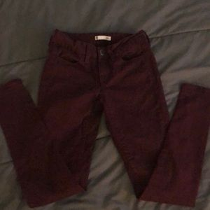 Barely worn red low rise jeggings